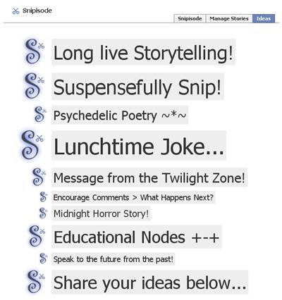 Snipisode Facebook Status Storytelling App
